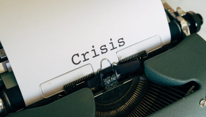 A typewriter writing crisis