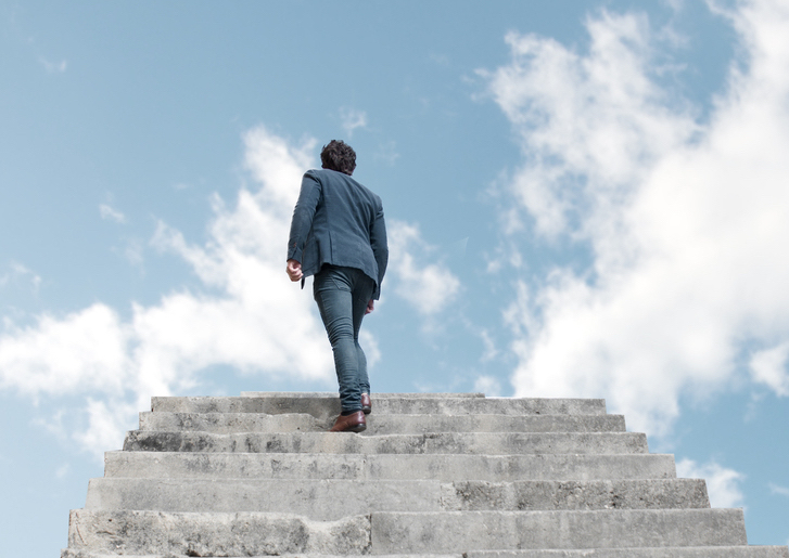 Man going up to the sky, signifying human development