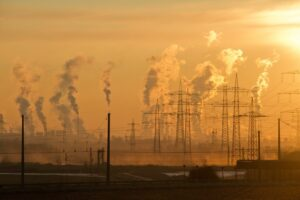 pollution-and-electricity-towers-climate-change